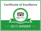 Certificate of Excellence: TripAdvisor 2013 Winner