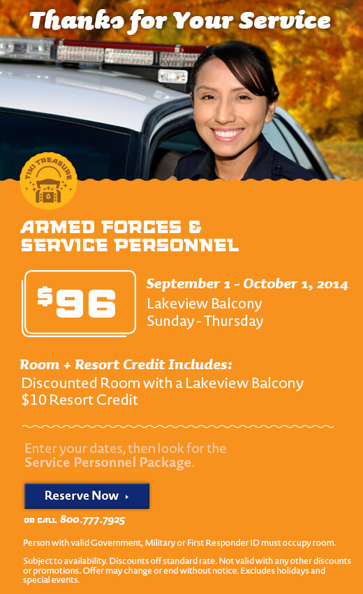 Thanks for Your Service Resort Credit Package - Fall