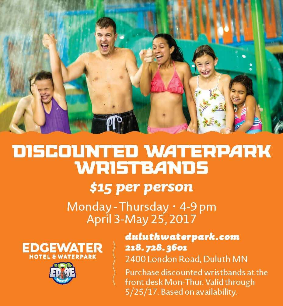 Discounted Waterpark Wristbands at The Edge in Duluth MN