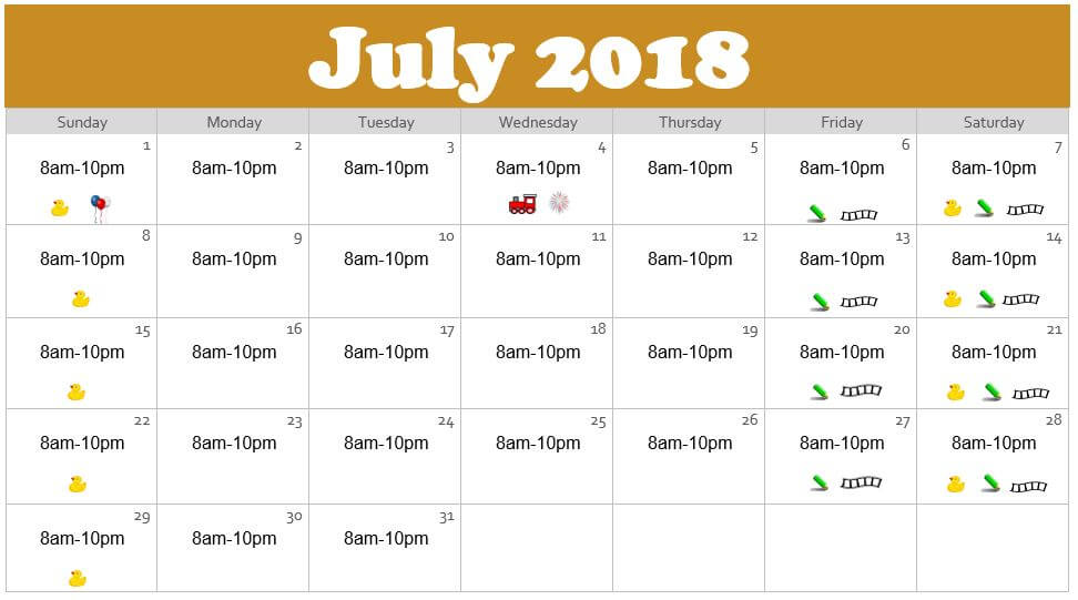 July 2018 Waterpark Hours at the Edgewater in Duluth