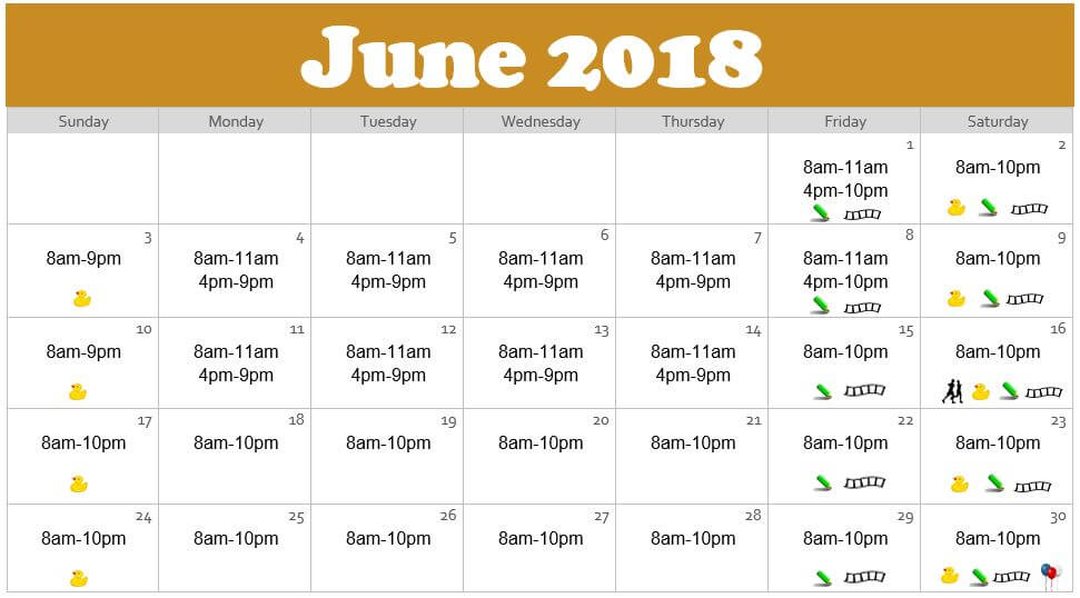 June 2018 Waterpark Hours at the Edgewater in Duluth