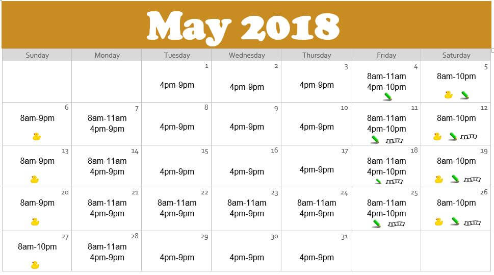 May 2018 Waterpark Hours at the Edgewater in Duluth
