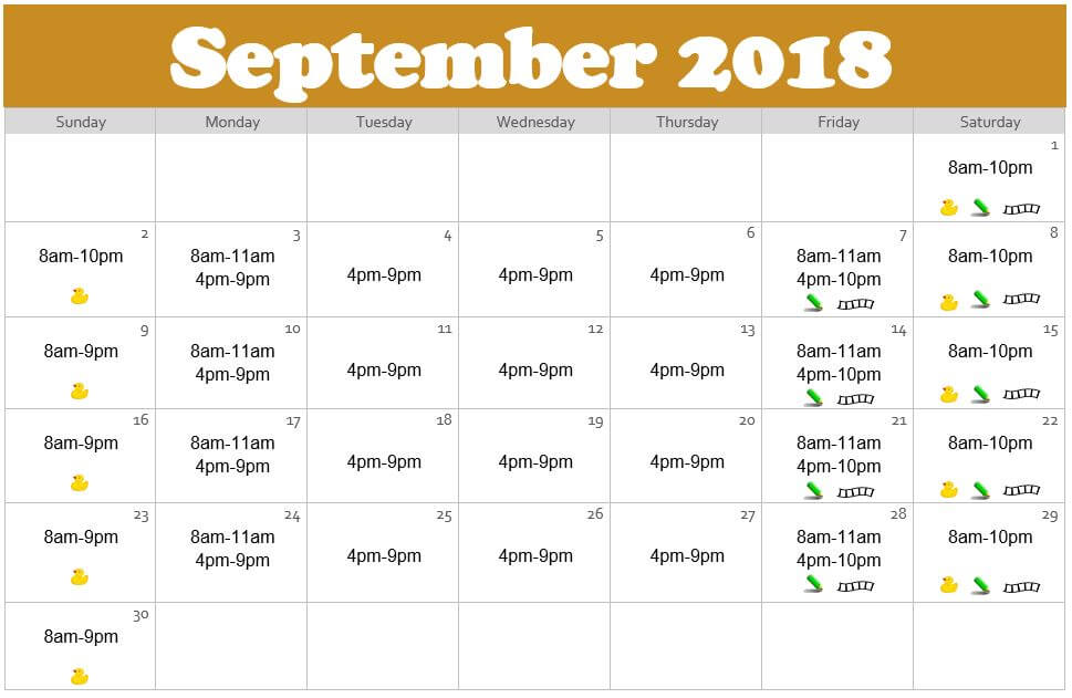 September 2018 Waterpark Hours at the Edgewater in Duluth