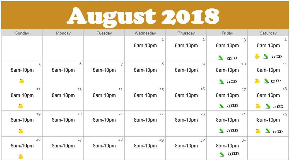 August 2018 Waterpark Hours at the Edgewater in Duluth